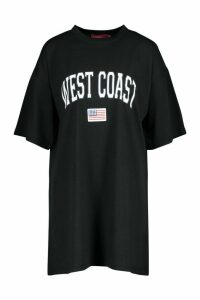 Womens West Coast Badge Detail Oversized T-Shirt Dress - black - 14, Black