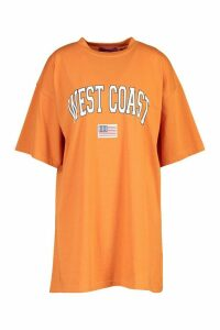 Womens West Coast Badge Detail Oversized T-Shirt Dress - orange - 10, Orange