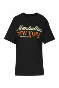 Womens Manhattan New York Slogan T-Shirt - black - M, Black