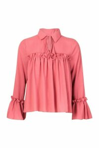 Womens Tie Front Ruffle Detail Woven Smock Top - pink - 6, Pink