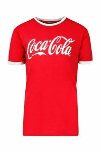 Womens Coca Cola Licensed Ringer T-Shirt - red - M, Red