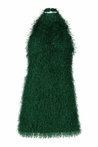 Womens Feather Knit Halterneck Mini Dress - green - 14, Green