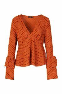 Womens Polka Dot Ruffle Sleeve Top - orange - 12, Orange