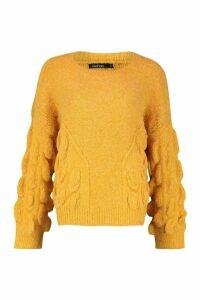 Womens Oversized Bobble Knit Jumper - orange - M/L, Orange