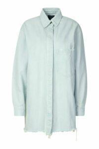 Womens Longline Oversized Ripped Hem Denim Shirt - Blue - 16, Blue