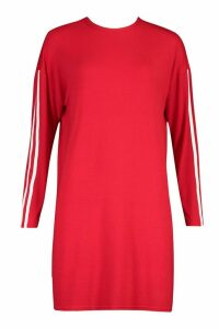 Womens Long Sleeve contrast Stripe T-Shirt Dress - red - 16, Red