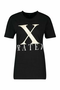 Womens X Rated PU Applique Slogan Tee - black - M, Black