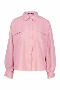 Womens Woven Oversized Long Sleeve Shirt - Pink - 14, Pink