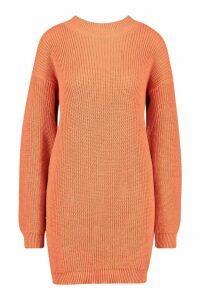 Womens Crew Neck Jumper Dress - orange - M, Orange