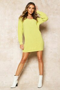 Womens Rib V-Neck Jumper Dress - soft lime - M, Soft Lime