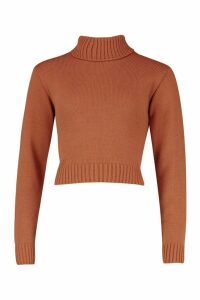 Womens Roll Neck Crop Jumper - beige - L, Beige
