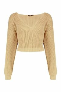 Womens V Neck Fisherman Crop Jumper - beige - S, Beige