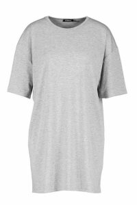 Womens Oversized Crew Neck T-Shirt Dress - grey - 16, Grey