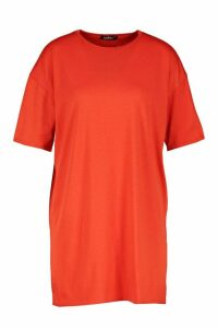 Womens Oversized Crew Neck T-Shirt Dress - orange - 16, Orange