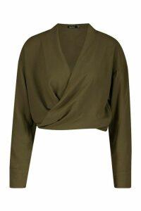 Womens Woven Twist Front Detail Blouse - green - 14, Green