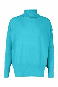 Womens Oversized Balloon Sleeve roll/polo neck Knitted Jumper - blue - M/L, Blue