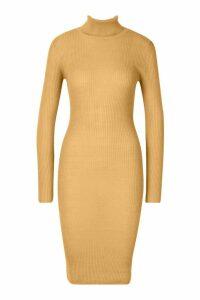 Womens roll/polo neck Rib Knit Midi Dress - beige - M, Beige