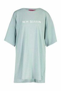 Womens New Season Embroidered Cotton T Shirt Dress - blue - 16, Blue