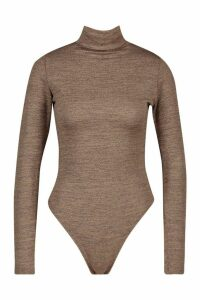 Womens Marl Knit Roll Neck Bodysuit - brown - 14, Brown