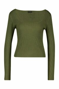 Womens Square Neck Knitted Long Sleeve Top - green - M, Green