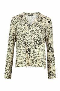 Womens Leopard Print Utility Woven Blouse - beige - 16, Beige