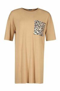 Womens Leopard Pocket T-Shirt Dress - beige - 16, Beige