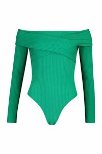 Womens Jumbo Rib Wrap Front Over The Shoulder Bodysuit - Green - 10, Green
