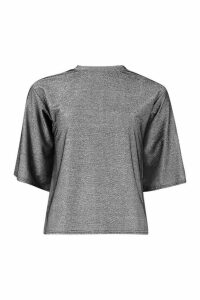 Womens Metallic High Neck Boxy T-Shirt - black - 16, Black