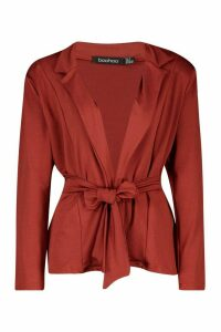 Womens Recycled Easy Wear Tie Front Blazer - red - 14, Red