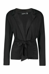 Womens Recycled Easy Wear Tie Front Blazer - black - 14, Black