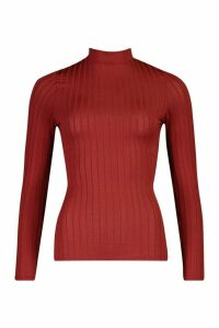 Womens Recycled Wide Rib roll/polo neck Top - red - 14, Red