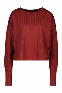Womens Recycled Wide Rib Deep Cuff Slouch Top - red - 10, Red