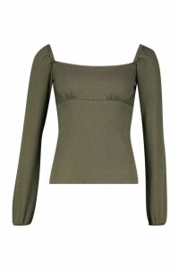 Womens Square Neck Puff Sleeve Rib Top - green - 14, Green