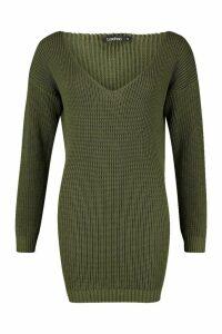 Womens V Neck Jumper Mini Dress - green - XS, Green