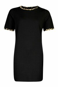 Womens Rib Leopard T-Shirt Dress - black - 16, Black