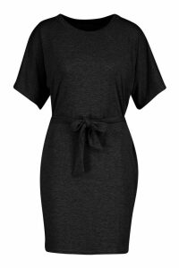 Womens Belted Jersey T-Shirt Dress - black - 16, Black