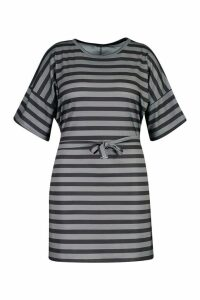 Womens Plus Tie Waist Striped T-Shirt Dress - black - 20, Black