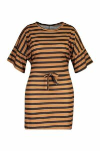 Womens Plus Tie Waist Striped T-Shirt Dress - beige - 18, Beige