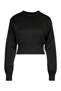 Womens Petite Balloon Sleeve Sweat Top - black - 14, Black