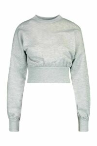 Womens Petite Balloon Sleeve Sweat Top - grey - 14, Grey
