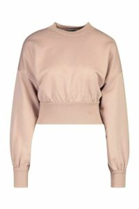 Womens Petite Balloon Sleeve Sweat Top - beige - 8, Beige