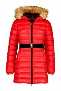 Womens Cire Longline Belted Parka - red - 16, Red