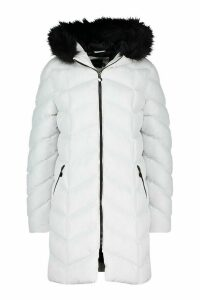 Womens Faux Fur Hooded Panelled Parka - white - 16, White