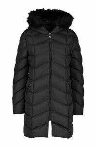 Womens Faux Fur Hooded Panelled Parka - black - 14, Black