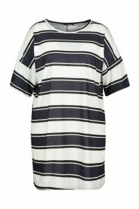Womens Plus Stripe Oversized T-Shirt Dress - black - 20, Black