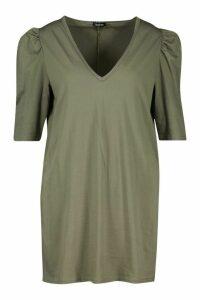 Womens Plus Frill Sleeve Cotton T-Shirt Dress - green - 24, Green