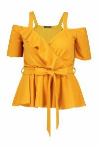 Womens Plus Plunge Ruffle Cold Shoulder Peplum Top - yellow - 16, Yellow