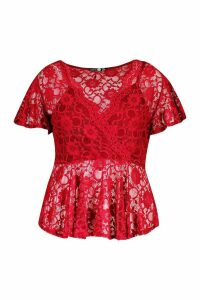 Womens Plus Lace Wrap Peplum Top - red - 16, Red