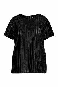 Womens Plus Velvet Wide Stripe Boxy T-Shirt - black - 20, Black