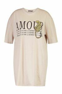 Womens Plus Amour Oversized T-Shirt Dress - beige - 22, Beige